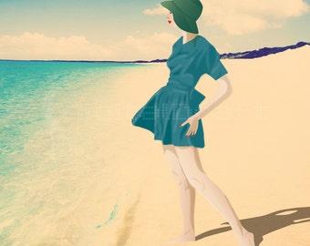 Beach Print - Fashion Illustration - Retro - Vintage Fashion Art - Digital Collage - Art Print.- Nautical Art