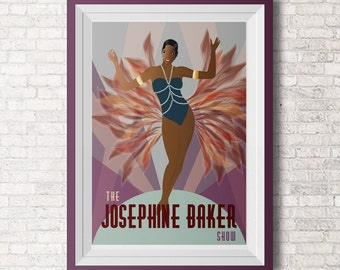 Paris Dance- Illustration - Retro Art - Digital Collage - Art Print - Burlesque - Wall Decor - Josephine Baker - Flappers - Civil Rights