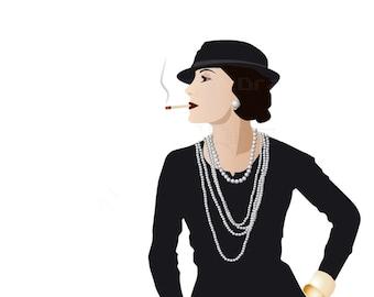 Paris Chanel - Illustration - Retro Art - Digital Collage - Art Print - Wall Decor - Coco Chanel