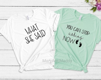 c04eabef4 You can stop asking now, new baby, couple shirt, new mom, pregnancy shirt, pregnancy  announcement, pregnancy, new baby, new baby shirt