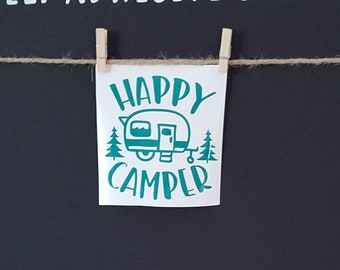 Clearance ST 39 4 High X Wide Happy Camper Everglade Vinyl STICKER Self Adhesive Decal Ready To Ship