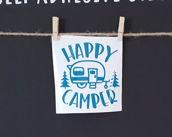 Clearance ST 40 4 High X Wide Happy Camper Aquamarine Vinyl STICKER Self Adhesive Decal Ready To Ship