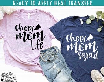 IRON ON  (v140-C) Cheer Mom Life Squad Megaphone Vinyl Iron On Heat Transfer  More Colors Available! f20244a00bd8