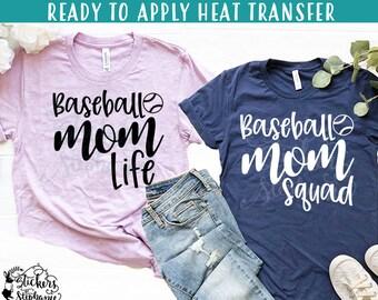 IRON ON  (v41-J) Baseball Mom Life Squad Vinyl Iron On Heat Transfer More  Colors Now Available! f1b9eb1f07f3