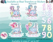 Ready to Apply Heat Transfer Vinyl Iron On or Sticker B (s198-P4 Custom) Mermaid Age Number Monogram Letter Name Text Watercolor Glitter