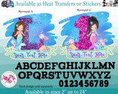Ready to Apply Heat Transfer Vinyl Iron On or Sticker B (s198-N) Mermaid Age Number Monogram Letter Name Custom Text Watercolor Glitter