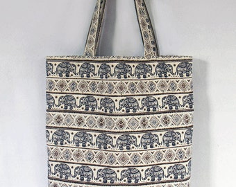 1a08e113d42 18.99  Elephant Tote bag tribal Graphic, Large Canvas Bag, Handbag,  shoulder bag, Handmade bag