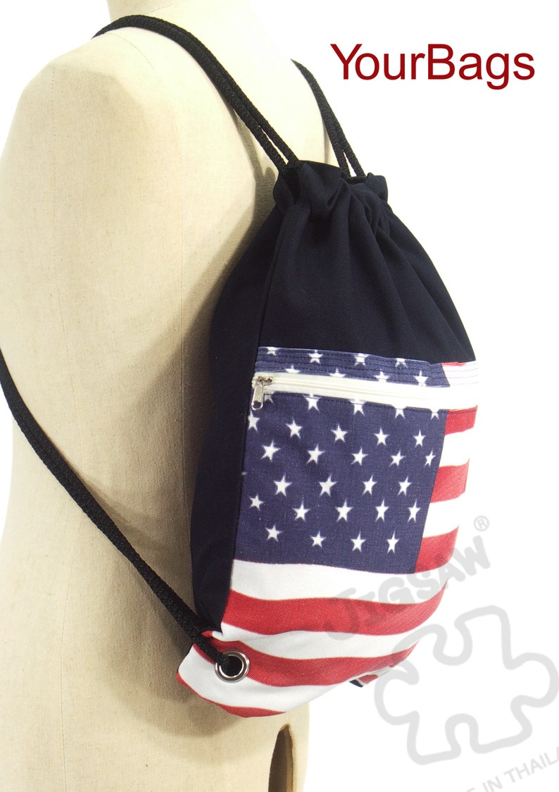 US Flag drawstring bag Canvas Cotton Backpack Laptop bag 2 pocket inside cotton fabric lining or waterproof fabric lining