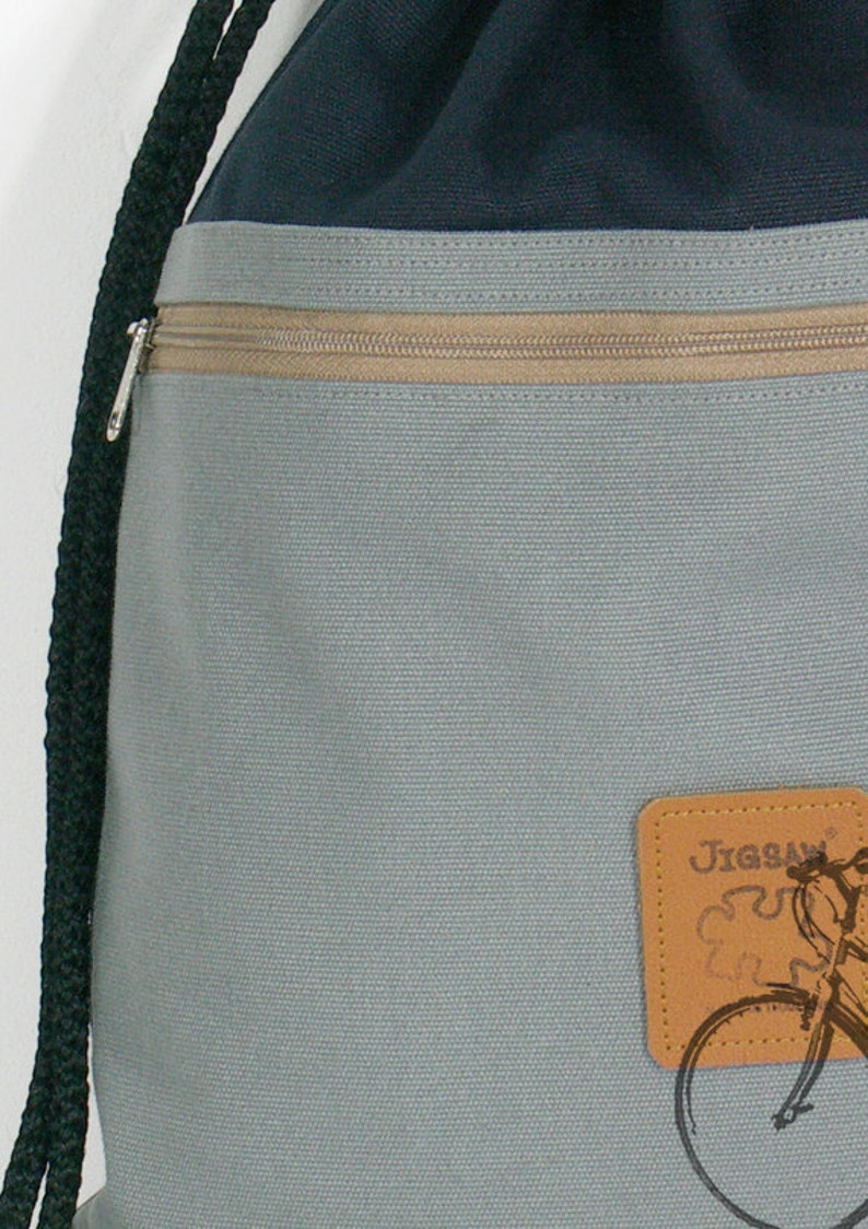 2 pocket inside cotton fabric lining Or waterproof lining Canvas backpack two color drawstring bag Navy /& Gray Zipper pocket