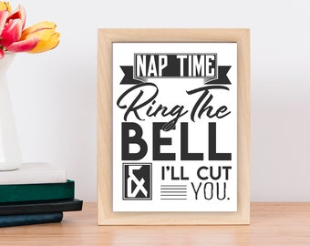 Door Sign, Naptime Sign, Do Not Ring, Do Not Knock, Ring the Bell and I'll Cut You, Front Door Sign, Napping Baby, Mom Life, Kids, Babies