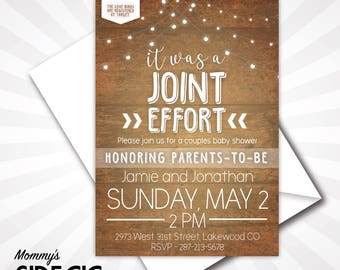 Joint Baby Shower Invitation, Couples Baby Shower Invitation, Baby Shower Invitation, Boho Chic Baby Shower, Bohemian Baby Shower, Couples