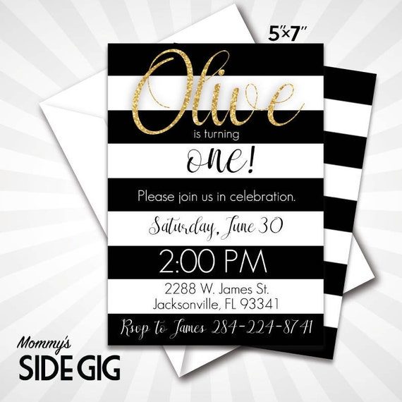 Elegant Black And White Birthday Invite