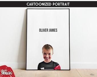 Child Portrait, Family Portrait, Keepsake Memory Photo, Kid Portrait, Painted Colored Drawn Portrait, Christmas, Printable At Home Gift