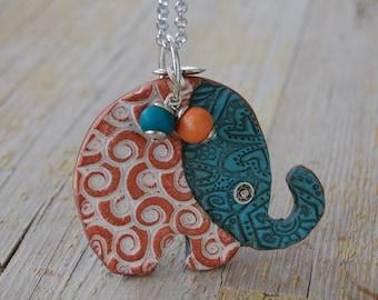 elephant pendant, polymer clay pendant, polymer  elephant, ethnic pendant, multicolor pendant