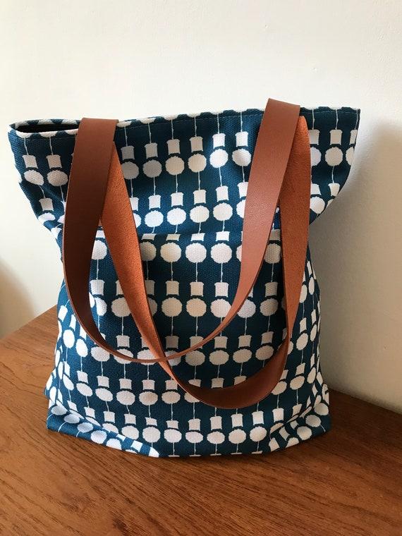 Tote Bag Teal Blue Large Bag Vegan Travel Bag Beach Bag   Etsy c92fca4e24