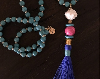Tassel: Royal Blue with Hot Pink, Turquoise and Gold Accents. Boho Beaded Mix and Match Detachable Tassel.