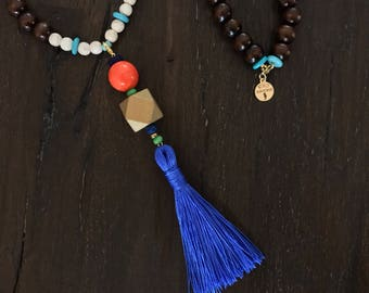 Tassel: Royal Blue Tassel with Orange and Gold Accents. Boho Beaded Mix and Match Detachable Tassel.
