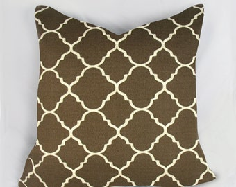 Morocon Geo Brown - Outdoor Pillow Cushion Cover - Accent Pillow - Throw Pillow - Indoor Outdoor