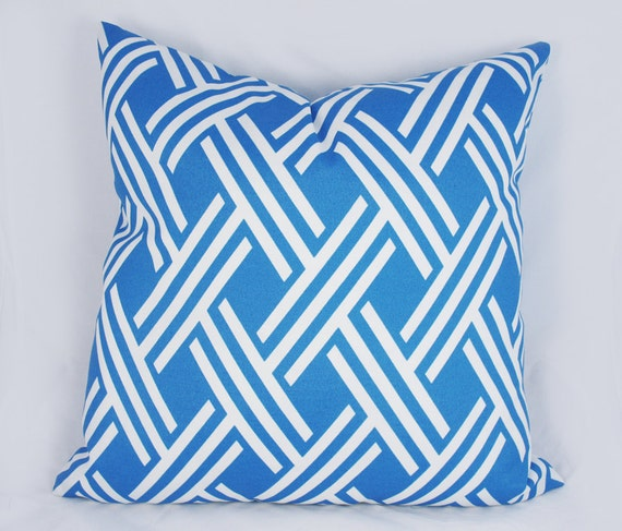 Lattice Blue White Outdoor Pillow Cushion Cover Accent Etsy