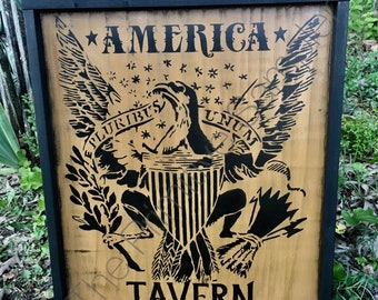 America Tavern, Eagle Tavern, Colonial Decor, Early American Decor, Tavern Sign, XL Sign