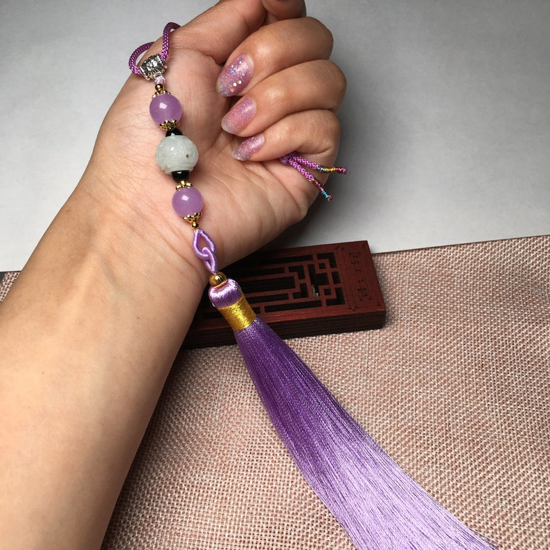 for handbags and any bags Dream Purple Tassel Bag Pendant Free Shipping-Natural Jadeite Carved Rune Beads