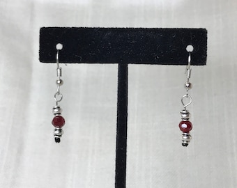 Tiny Red Crystal and Silver Earrings