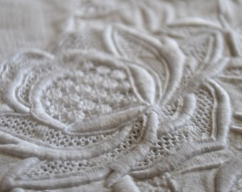Antique linen sheet, 1870s, monogram CR handmade embroideries and lace