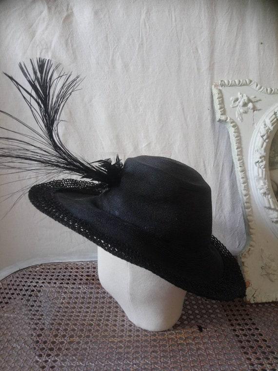 Antique french hat, vintage hat, 1910 hat,  feath… - image 7