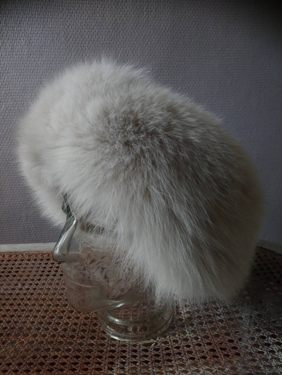 Vintage french white fox hat and leather  1980s