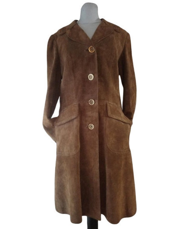 Vintage French leather coat 1970s , made in France
