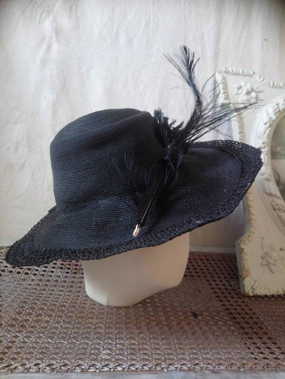 Antique french hat, vintage hat, 1910 hat,  feath… - image 2