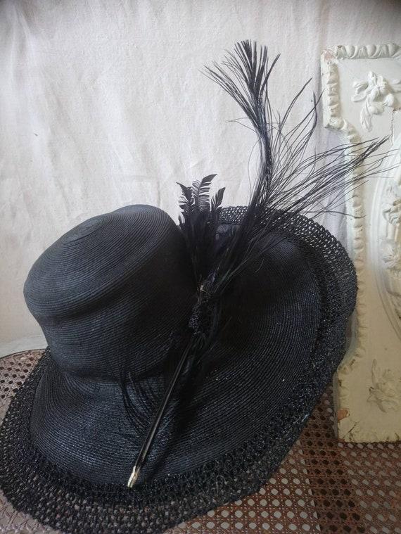 Antique french hat, vintage hat, 1910 hat,  feath… - image 3
