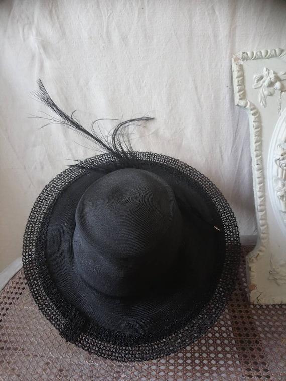 Antique french hat, vintage hat, 1910 hat,  feath… - image 4