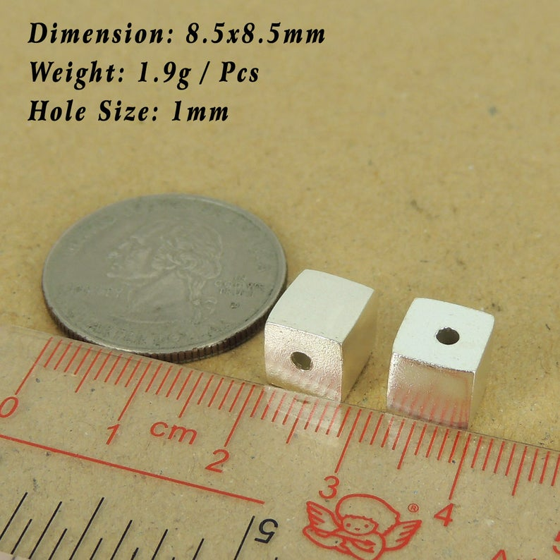 See Discount Coupons in Item Details 2 Pcs 925 Sterling Silver Cube Beads Seamless DIY WSP537X2 Wholesale