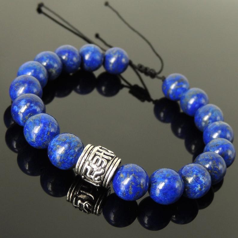 Handmade Braided Soothing Mantra Bracelet Natural 10mm Lapis Lazuli Gemstone Healing Yoga Awareness Protection 925 Sterling Silver Bead 1539