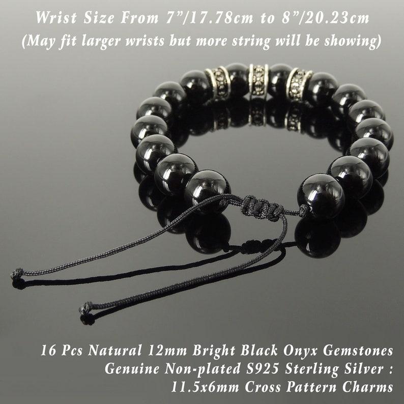 Bold Healing Gemstone Jewelry Mens Women Yoga Handmade Braided Charm Bracelet Bright Black Onyx 12mm Beads Sterling Silver Cross Charms 1774