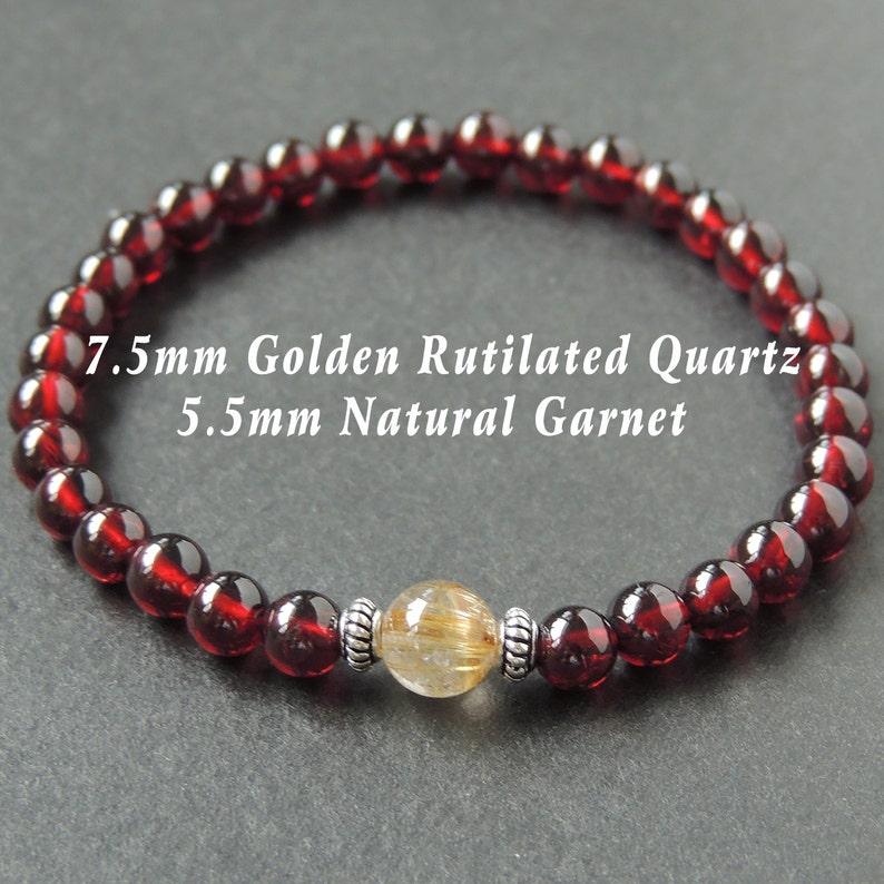 Men/'s Women Garnet Golden Rutilated Quartz 925 Sterling Silver Bracelet AAA Gemstone DiyNotion Handmade BR623