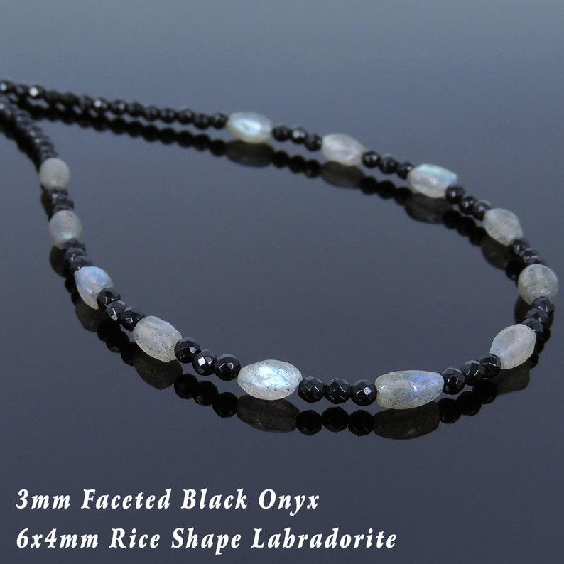 Men/'s Women Bright Black Onyx Labradorite Sterling Silver Necklace Gemstone Beads Clasp DiyNoion Handmade NK118