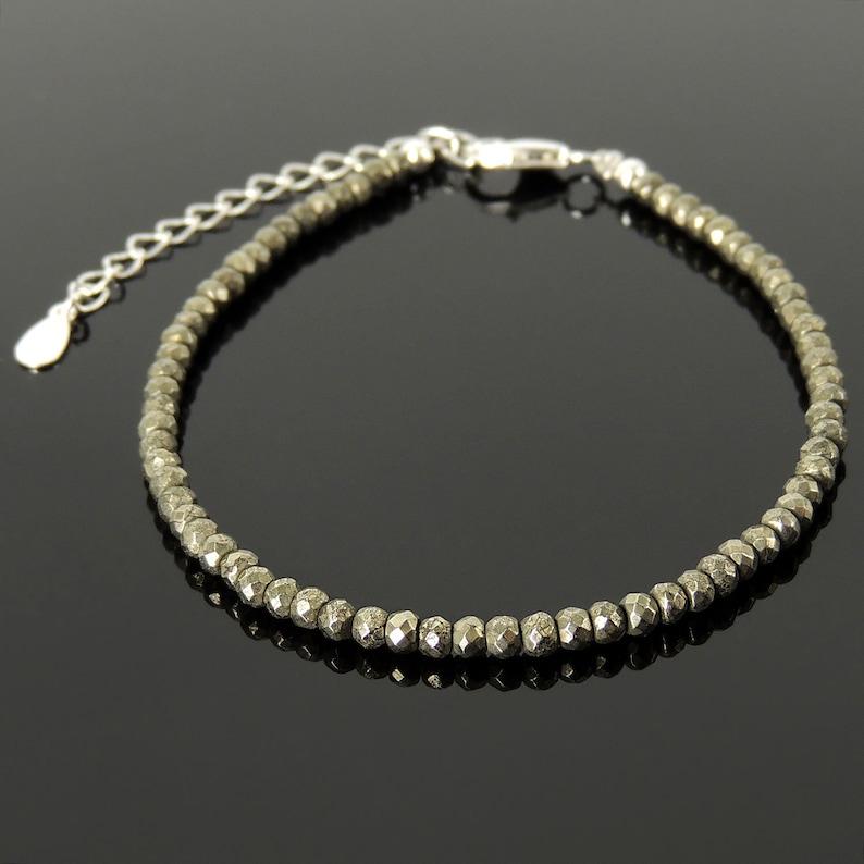 Healing Natural Gemstones Handmade Adjustable Clasp Bracelet Faceted Gold Pyrite Men/'s Women/'s Custom Jewelry Genuine Sterling Silver 1786