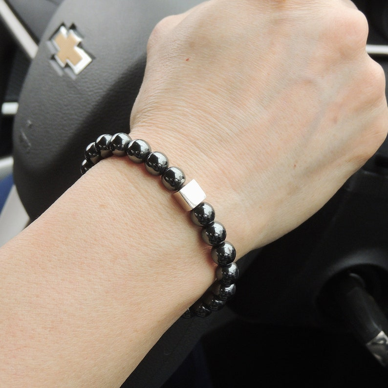 Minimal Cube Clasp Bracelet Protection Gemstones 8mm Hematite Stability Healing Mirror S925 Sterling Silver Spacers Chain DiyNotion BR1433