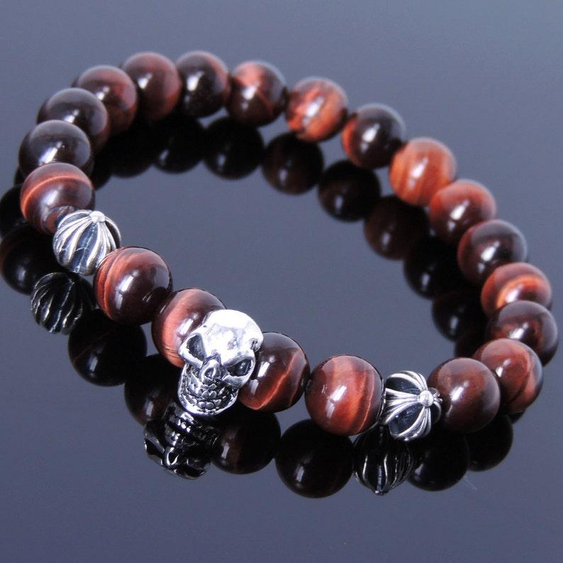 Men/'s Women Bracelet with Red Tiger Eye Sterling Silver Skull Cross Beads DiyNotion Handmade BR753