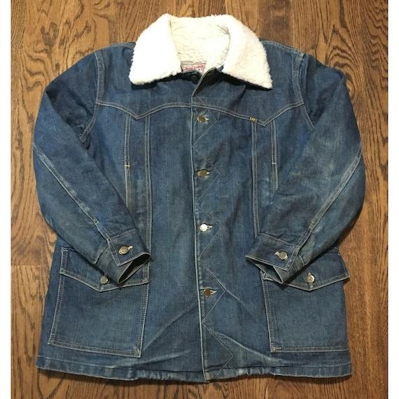 Vintage Lee Storm Rider Denim Jacket Sherpa Lined