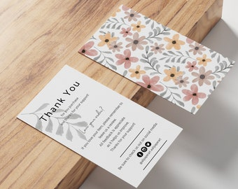 Thank you cards business Printable Review Cards, Insert Card x2  Feedback Cards, Business Thank You Cards