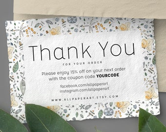 Instant Business Thank You Cards Custom Thank You Cards Etsy Etsy