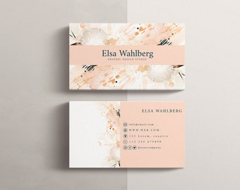 Business card template Edit online. Watercolor, pink and gold.