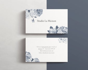 Business card edit online, Business card blue and flowers