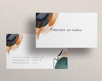 Business card edit online, Business card gold and blue elegant art
