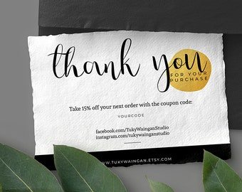 INSTANT Business Thank You Cards, Editable PDF Printable Business packaging Custom Thank You cards Card personalized Online shops for Etsy