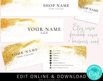 Etsy shop banner, facebook banner and business card