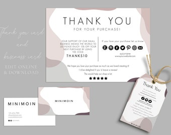 Thank you cards business INSTANT Review Cards, Feedback Cards, Business Thank You Cards,